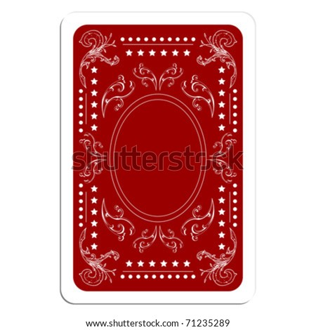 Playing card back over white square background - stock vector