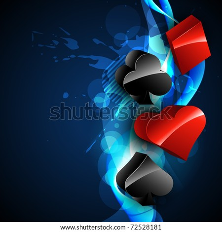 playing card casino element on beautiful blue background - stock vector