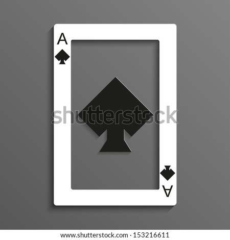Playing card rustrakehner color spades ace - stock vector