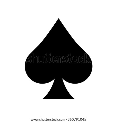 Playing card spade suit flat icon - stock vector