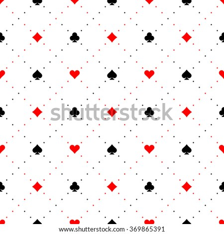 Playing card suits signs seamless pattern background - stock vector