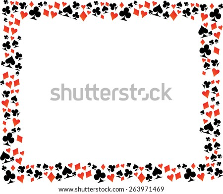 Playing Card Symbol Border Frame . Vector Illustration . - stock vector