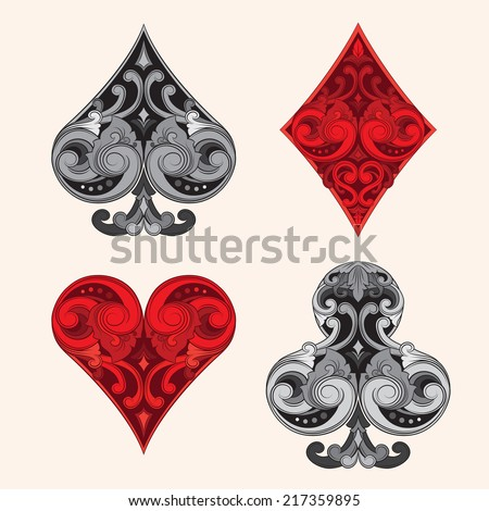 Playing Card Vintage Ornament - stock vector