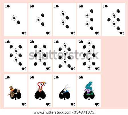 playing cards. Alice in Wonderland. suit. patterns of roses, cards. blame