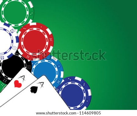 Playing cards and poker chips over green background - stock vector