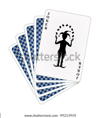 Playing cards � blue back side and joker - stock vector