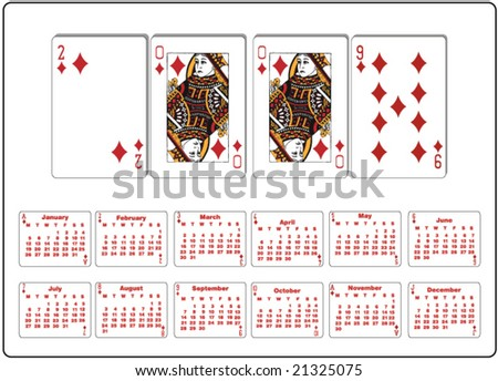 playing cards calendar - stock vector