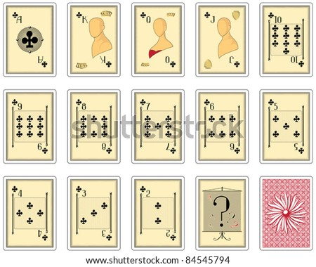 playing cards clubs suit. poker size - stock vector