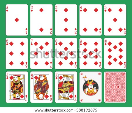 Playing cards diamonds suit on green background. Original figures, joker and back.