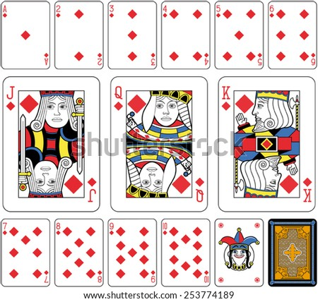 Playing cards, diamonds suite, joker and back. Faces double sized. Green background. - stock vector