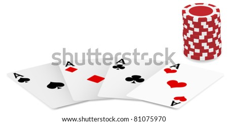 Playing Cards - Four Aces and Poker Chips On White Background