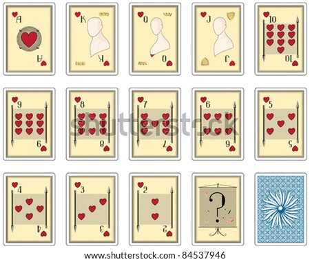 playing cards hearts suit. poker size - stock vector