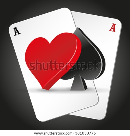 Playing cards. illustration on a casino theme with poker symbols and cards on dark background. icons web. poker vector. - stock vector