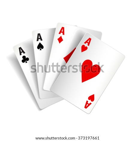 Playing cards isolated on white photo-realistic vector illustration - stock vector