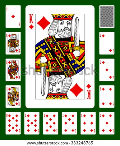 Playing cards of Diamonds suit and back on green background. Faces double sized. Original design. Vector illustration - stock vector