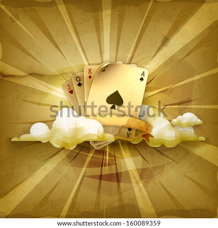 Playing Cards, old style vector background - stock vector