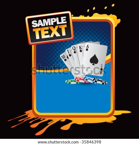 playing cards on orange splatter banner template