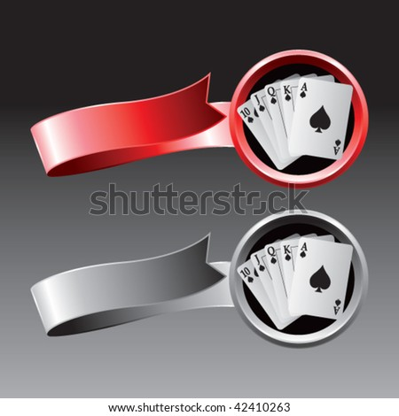 playing cards on red and gray ribbons