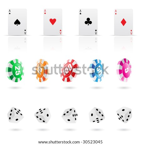 playing cards, roulette chips and dices icons - stock vector