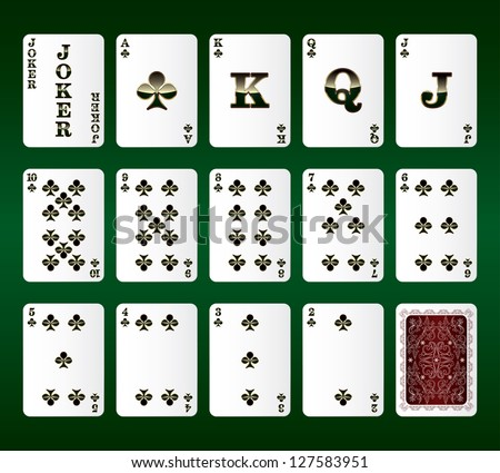 Playing cards Set. Clubs. Vector illustration - stock vector