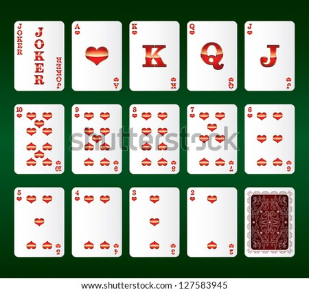 Playing cards Set. Hearts. Vector illustration - stock vector