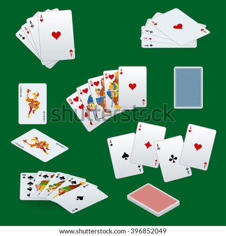 Playing cards set. Playing cards set art. Playing cards set web. Playing cards set new. Playing cards set www. Playing cards icons. Playing cards icons art. Playing cards icons web - stock vector