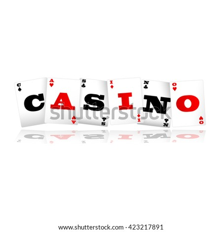 Playing cards spelling Casino logo vector illustration