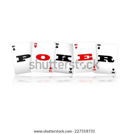 Playing cards spelling Poker logo vector illustration  - stock vector