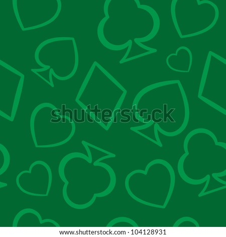Playing cards symbols seamless pattern. Vector illustration - stock vector