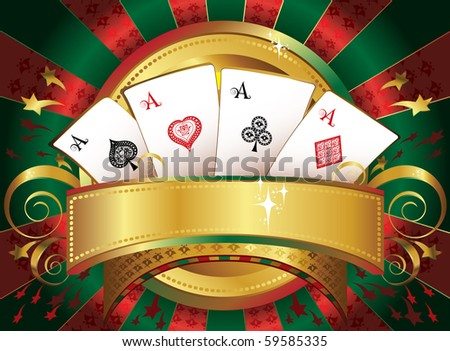 playing-cards  with the place for or text - stock vector