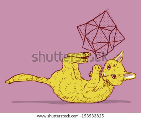 Playing cat - stock vector