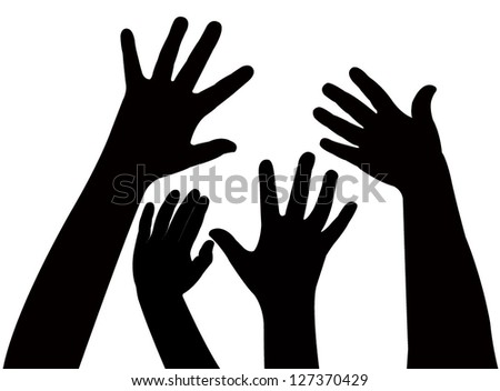 playing children hands silhouette, vector