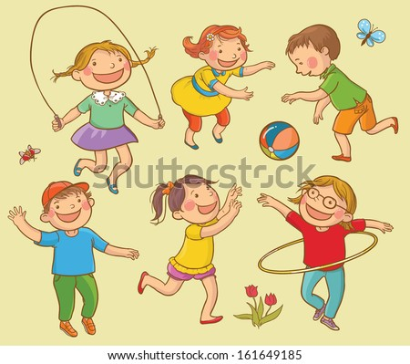 Playing children Set. Summer Activities. Children illustration for School books, advertising, magazines and more. Separate Objects. VECTOR. - stock vector