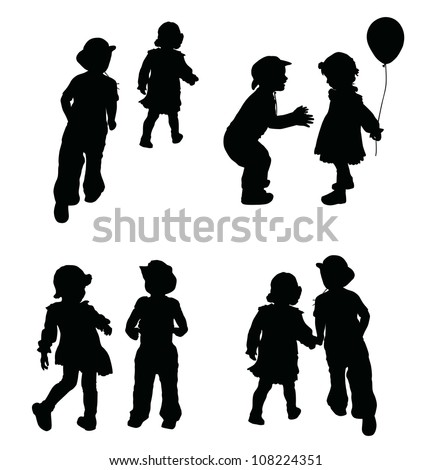 Playing children silhouettes set. Retro style.Vector - stock vector