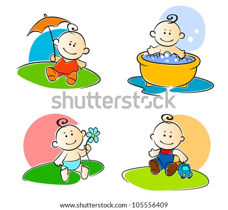 Playing childs in cartoon drawing. Vector illustration - stock vector