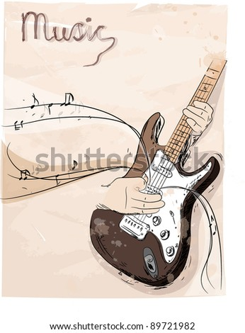 Playing electric guitar - vector abstract - stock vector