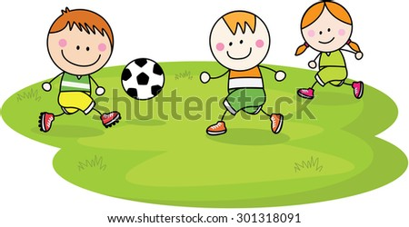 Playing football - stock vector
