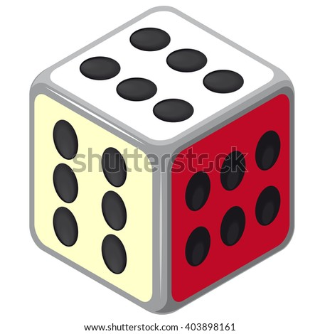 Playing isometric dice. Happy dice cube with all six. Color full cube on white background. Six sides game die. Only six dots. Happy situation. Casino icon. Flatten isolated master vector illustration. - stock vector