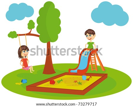 Playing kids in a playground - stock vector
