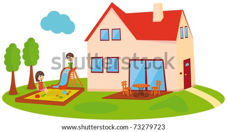 Playing kids next to the house - stock vector