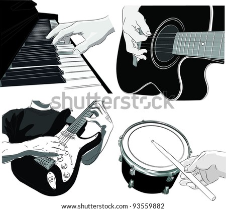 Playing music - vector set - stock vector