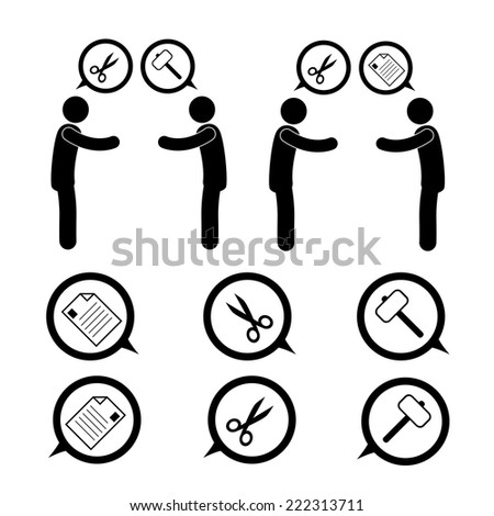 Playing Paper Rock Scissors  Figure Pictogram Icon  - stock vector