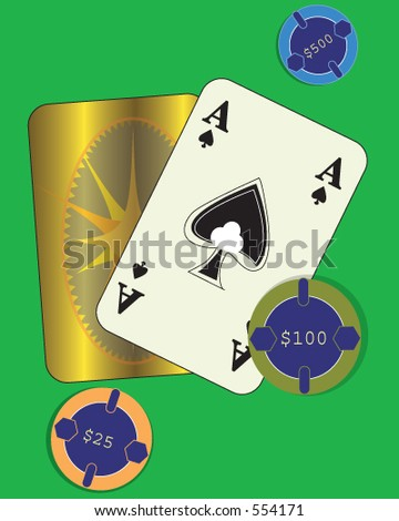 Playing Poker. Ace showing with other card face down. Three chips are on the table and a $500 bet. - stock vector