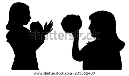 playing tambourine and dancing, vector  - stock vector