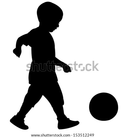 playing with ball, silhouette vector - stock vector