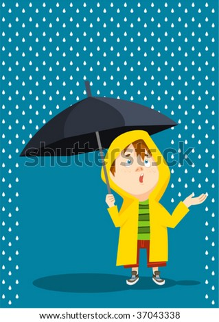 playing with rain - stock vector