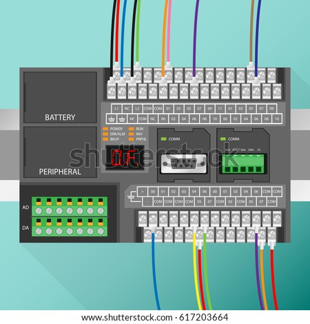 Plc controller wiring stock vector 617203664 shutterstock asfbconference2016 Gallery