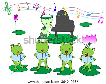 Pleasant chorus of the frog.A pianist is a kappa appearing in the Japanese folktale.