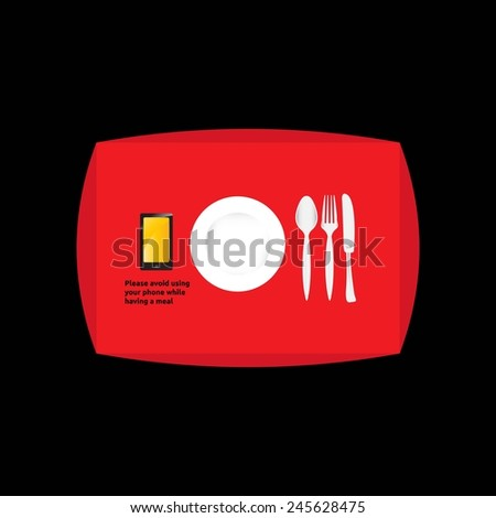 Please avoid using your phone while having a meal - stock vector