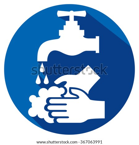 please wash your hands flat icon - stock vector